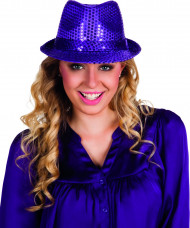 Sombrero lentejuelas violeta adulto