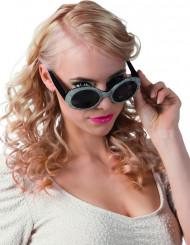 Gafas disco negro y plateado adulto
