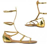 Sandalias doradas mujer