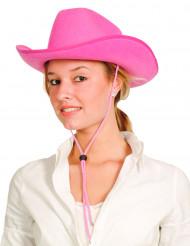 Sombrero vaquero rosa para adulto