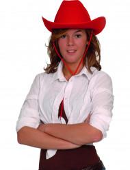 Sombrero de vaquero rojo adulto