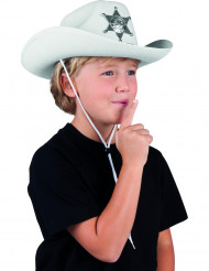 Sombrero sheriff blanco niño
