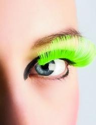 Pestañas postizas largas verde fluo adulto