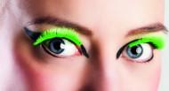 Pestañas falsas cortas verdes fluorescente adulto