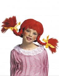 Peluca trenzas roja niña