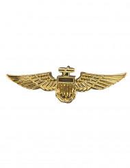 Broche piloto de avión dorado