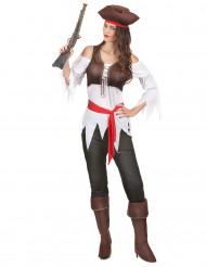 Disfraz pirata marrón y blanco mujer