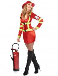 Disfraz de bombero satinado mujer