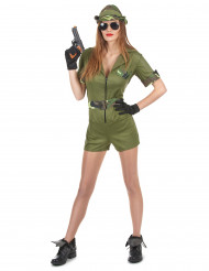 Disfraz militar verde mujer