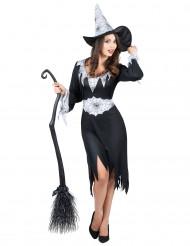 Disfraz de bruja negro y blanco mujer