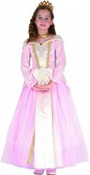 Disfraz de princesa niña rosa palo y dorado