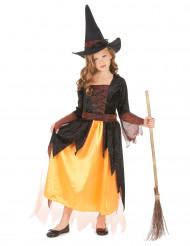 Disfraz de bruja naranja niña