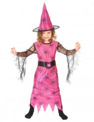 Disfraz de bruja rosa con arañas niña