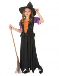 Disfraz de bruja morado y naranja para niña