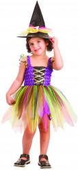 Disfraz de bruja arcoíris niña