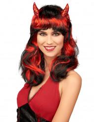 Peluca roja de diablesa mujer