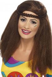 Peluca hippie marrón años 70 mujer