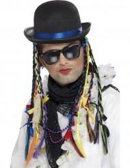Sombrero de cantante con trenzas de colores adulto
