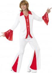 Disfraz disco rojo y blanco hombre
