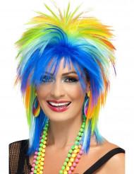 Peluca multicolor años 80 mujer