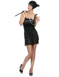 Disfraz Charlestón negro con flecos mujer