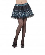 Falda negra cuadricula azul mujer