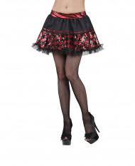Falda negra cuadrícula roja mujer