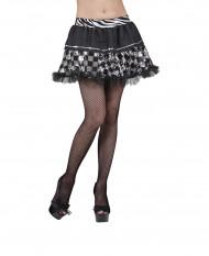 Falda negra cuadricula plata mujer