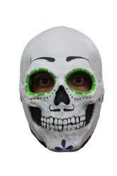 Máscara esqueleto contorno ojos verde