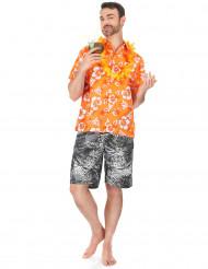 Camisa hawaiana naranja hombre