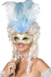 Antifaz veneciano azul y dorado con plumas adulto