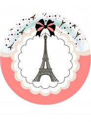 8 Platos de cartón Torre Eiffel parisina 23 cm