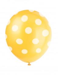 6 Globos amarillos puntos blancos