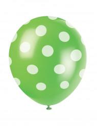6 Globos verdes con puntos blancos