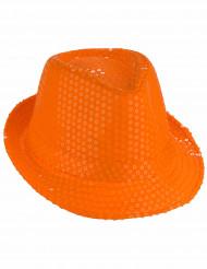 Sombrero de lentejuelas naranja adulto