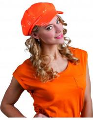Gorra lentejuelas naranja adulto