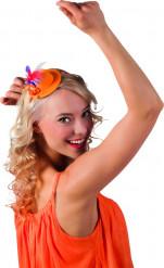 Mini-sombrero naranja de plumas tricolor adulto