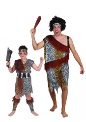 Disfraz de pareja cavernícola padre e hijo