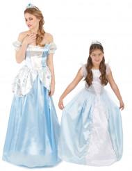 Disfraz de pareja princesa azul madre e hija