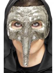 Semi máscara veneciana nariz larga plateada adulto