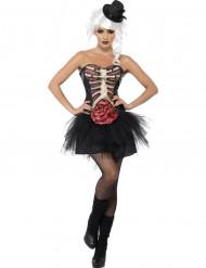 Disfraz de esqueleto pecho abierto mujer Halloween
