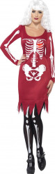 Disfraz de esqueleto rojo mujer Halloween