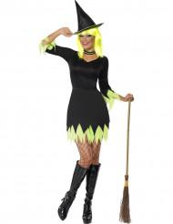 Disfraz de bruja negra y amarilla mujer Halloween
