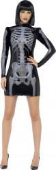 Disfraz de esqueleto negro sexy mujer Halloween