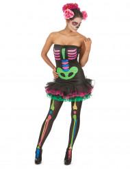 Disfraz de esqueleto colorido mujer Halloween