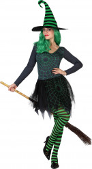 Disfraz bruja telaraña verde mujer Halloween