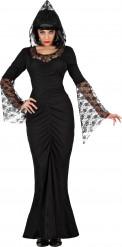 Disfraz bruja encaje negro mujer Halloween