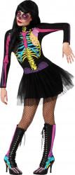 Disfraz esqueleto de colores tutú mujer Halloween