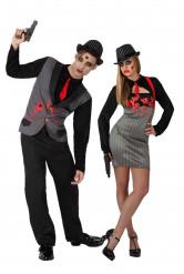 Disfraz de pareja de gangsters zombis