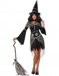 Disfraz bruja gris y negro mujer Halloween
